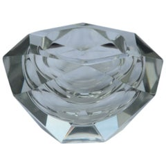 Diamond Shaped Ashtray Shining Italy Design 1960s Transparent Glass