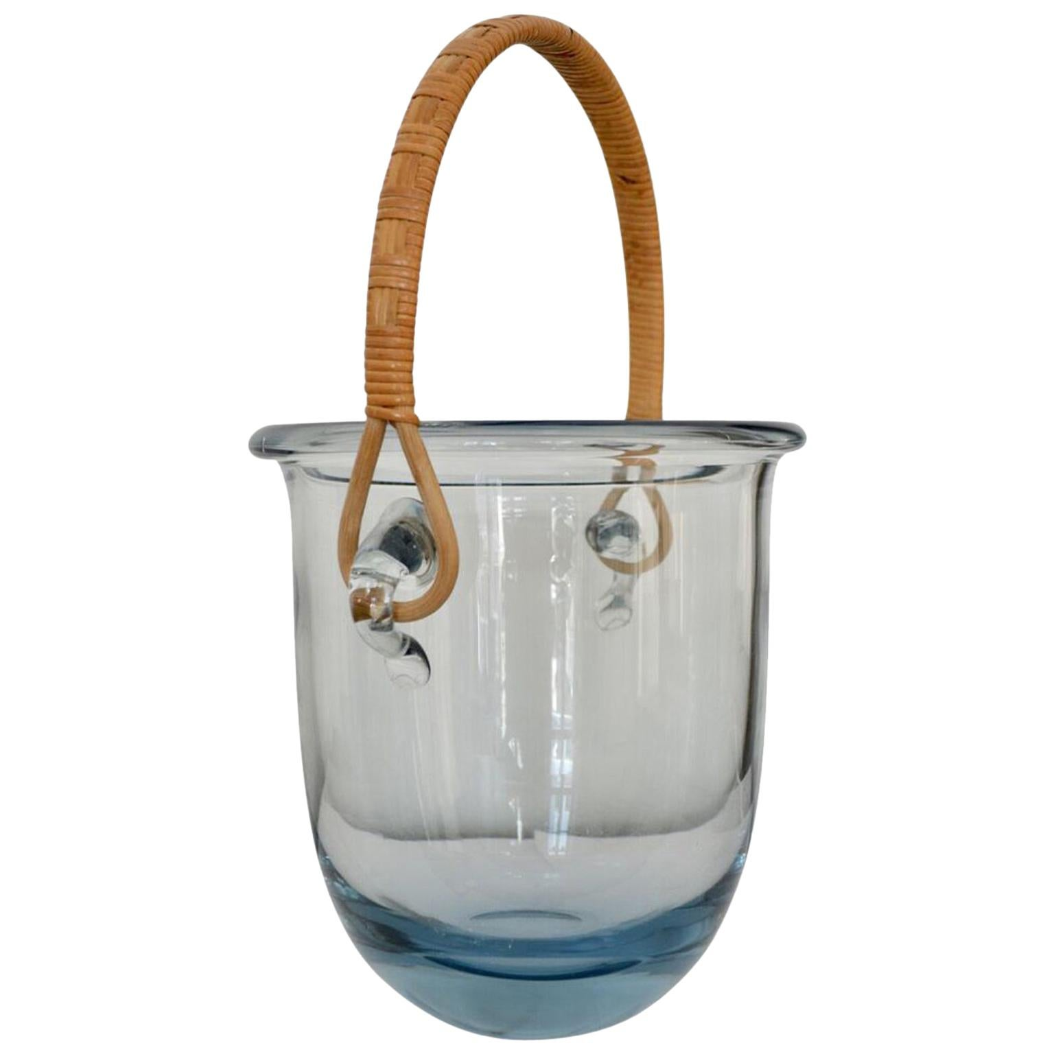 Signed Mid Century Modern Holmegaard Glass Ice Bucket With Rattan Handle