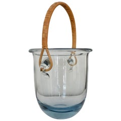 Signed Midcentury Holmegaard Glass Ice Bucket with Rattan Handle