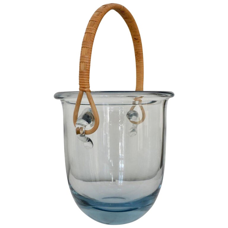 Signed Mid Century Modern Holmegaard Glass Ice Bucket With Rattan Handle For Sale
