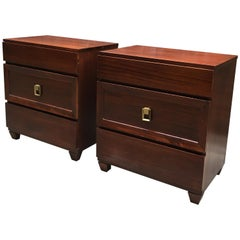 Pair of 1950s Mahogany Streamlined Moderne Dressers