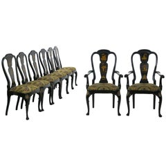 Set of 8 Queen Anne Style Black Lacquer Chinoiserie Dining Chairs