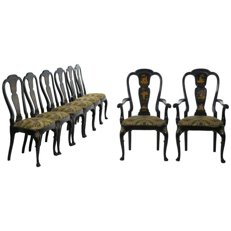 Pleasant Set Of 8 Queen Anne Style Black Lacquer Chinoiserie Dining Creativecarmelina Interior Chair Design Creativecarmelinacom