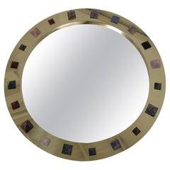 L.A. Studio Modern Circular Brass and Semi Precious Stones Spanish Mirror