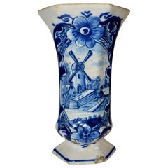 18th Century Delft Trumpet Shaped Vase