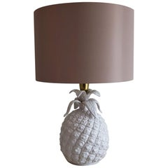 Italian Mid-Century Brass and Ceramic Pineapple Table Lamp, 1960s