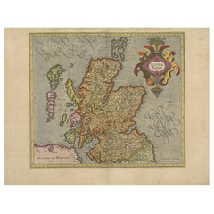 Antique Map of Scotland by Mercator, circa 1605