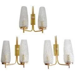 Three French Midcentury Arlus Brass Glass Mirror Sconces, Stilnovo Gio Ponti Era
