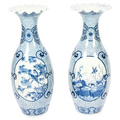 Antique Pair of Japanese Meiiji Imari Blue & White Arita Porcelain Temple Vases