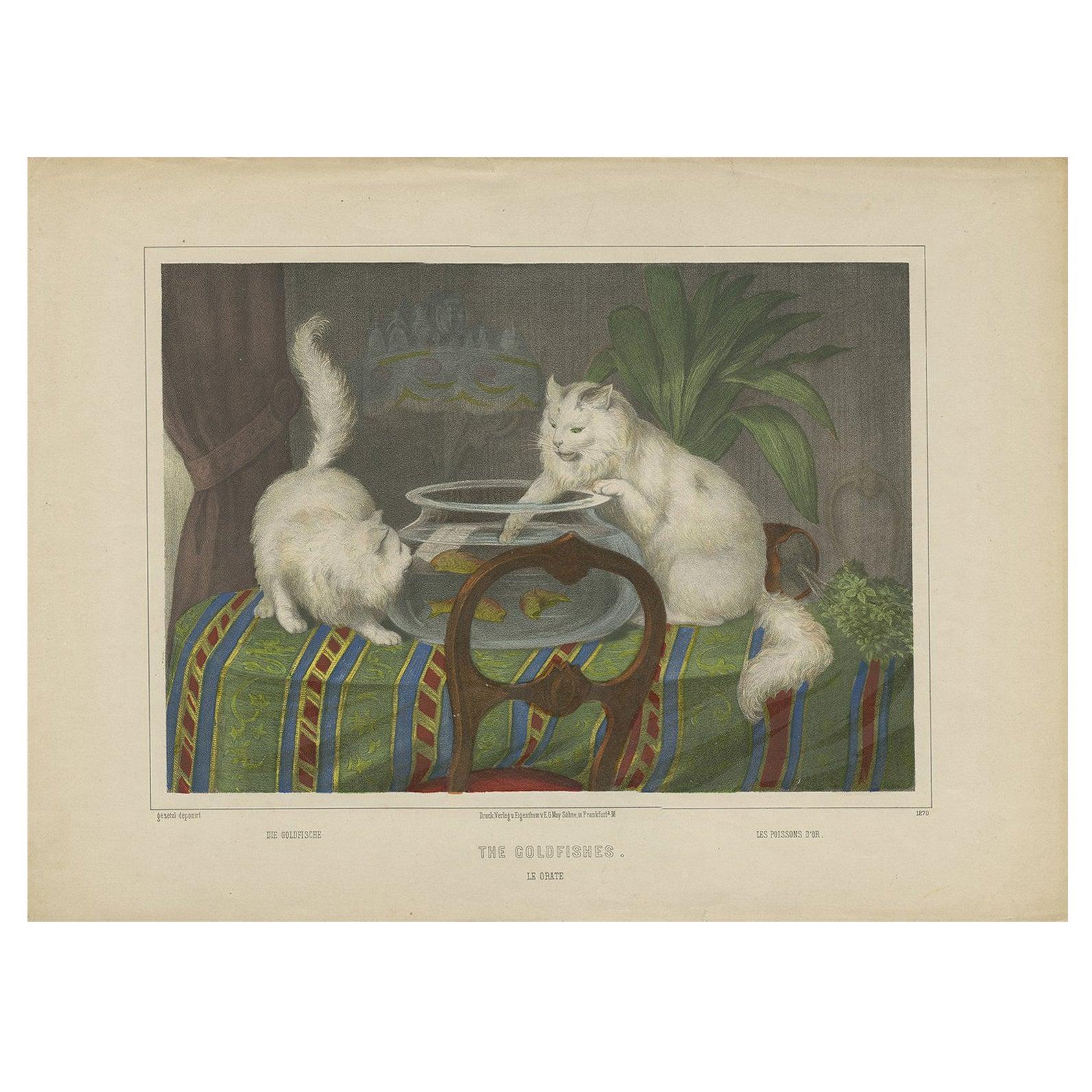 Antique Cat Print 'The Goldfishes', circa 1850