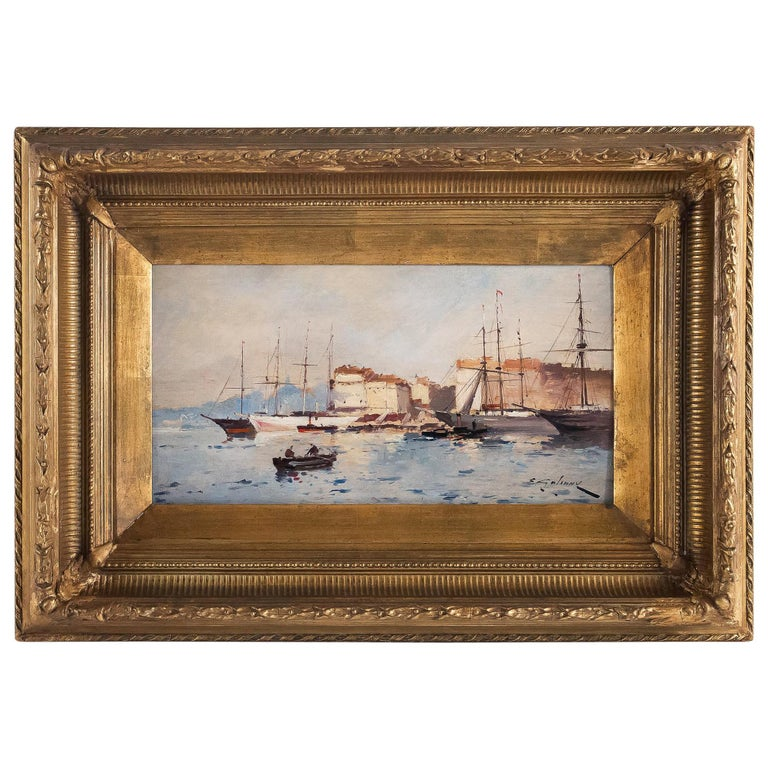 Galien-Laloue - Eugene Galiany Oil on Panel, Navy scene & Sailboats Circa 1880 For Sale