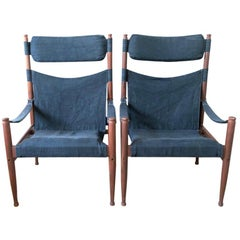 Safari Chairs by Erik Wørts for Niels Eilersen, Denmark, 1970s