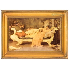 Antique Victorian Crystoleum of Mother & Daughter Picture Painting 19th Century