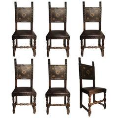 19th Century Italian Set of Six Renaissance Style Walnut Chairs