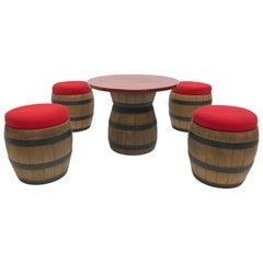 1970s Plastic Fantastic 'Whiskey Barrel' Drinking Table and Stools Emsa Germany