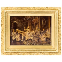 Victorian Crystoleum Picture 18th Century French Scene Painting 19th Century