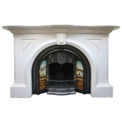 Magnificent Large Mid Victorian Statuary White Marble Fireplace Surround