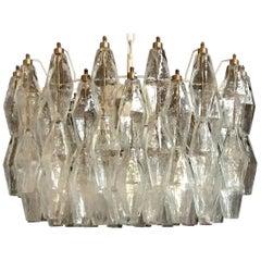 Poliedri Murano Glass Chandeliers Carlo Scarpa Style for Venini