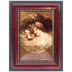Antique Victorian Crystoleum Picture Painting of a Girl and Pug, 1901
