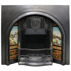 Antique Victorian Cast Iron and Tiled Arched Fireplace Insert