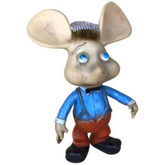 1960s Topo Gigio Mouse Rubber Squeak Toy Made in Italy with Original Hat