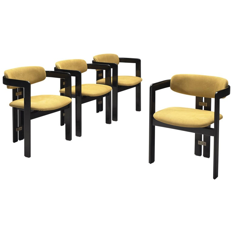 Augusto Savini Set of Four 'Pamplona' Chairs in Beige Suede For Sale