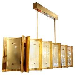Pair large Brass & Glass Rectangular Chandeliers 12 Lights, Bespoke by D'Lightus