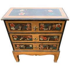 Danish 18th Century Flower Painted Folk Art Chest of Drawers