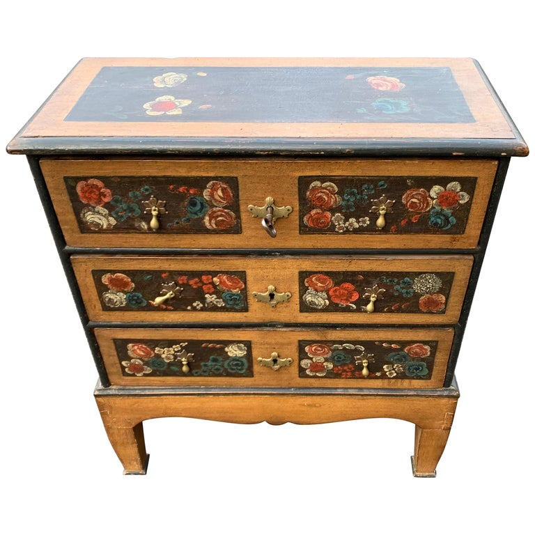 Danish 18th Century Flower Painted Folk Art Chest of Drawers For Sale