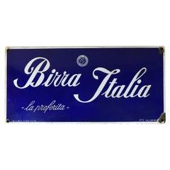 """1940er Jahre italienische Oldtimer blau """"Birra Italia"""" Bier Emailleschild"""