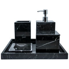 Complete Squared Set for Bathroom in Black Marquina Marble
