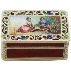 Antique Austrian Silver Gilt and Enamel Pill Box