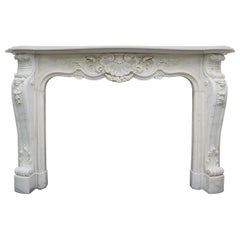 Large Original 19th Century Louis XV Style Statuary Marble Fireplace Surround
