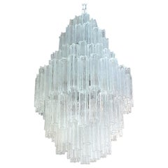 Huge Murano Clear Glass Chandelier, Toni Zuccheri for Venini, Mid-Century Modern
