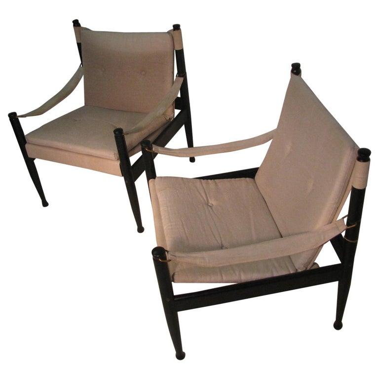 Pair of Mid-Century Modern Danish Safari Lounge Chairs by Erik Worts For Sale
