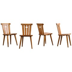 Set of Four Swedish Midcentury Pine Dining Chairs