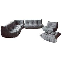 Togo Sofa-Set von Michel Ducaroy für Ligne Roset, Graue Mikrofaser, Fünfer-Set