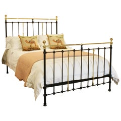 King Size Brass and Iron Bed in Black, MK168