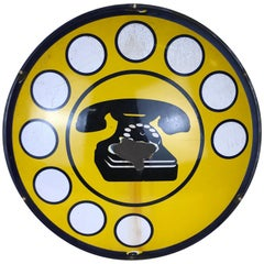 1970s Yellow Curved Enamel Metal Vintage Italian Telephone Sign, Sip