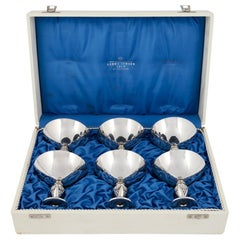 """Boxed Set of Georg Jensen Sterling """"Cactus"""" Goblets 572A"""