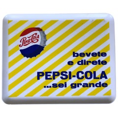 1960s Vintage Italian Plastic Pepsi-Cola Rectangular Advertising Bar Tray