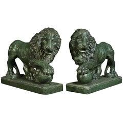 Pair of Serpentine Grand Tour Lions