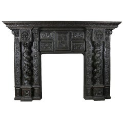 Monumental Carved Oak Fireplace