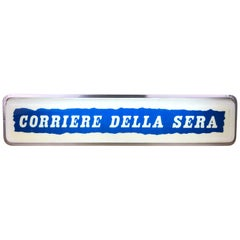 1960s Vintage Blue and White Corriere Della Sera Newspaper Illuminated Sign