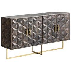 Brutalist Design Wooden and Gilded Metal Sideboard