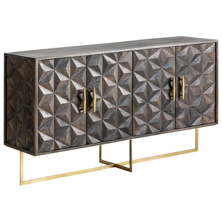 Brutalist Design Wooden and Gilded Metal Sideboard For Sale