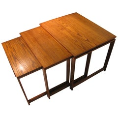 Mid Century Danish Modern Oak Set of Three Nesting Tables