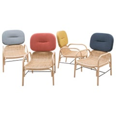 French Design Set of 4 Rattan and Wicker Armchairs