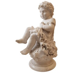 Italy Romantic Sculpture Big White Marble Child, 1850