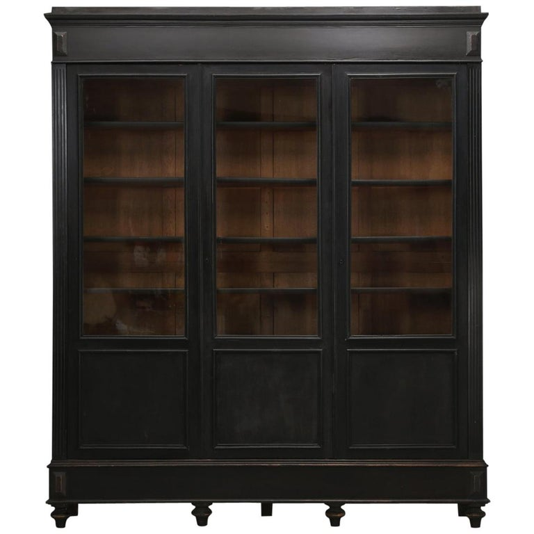 Antique French Ebony Bookcase, in Its Original Finish 1
